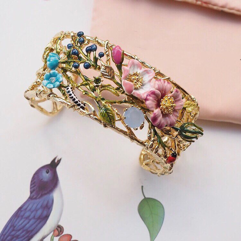 2018 Original Amybaby Designer Oriental Rose Pink Flowers Womens Bangle Enamelled Glaze Jewelry For Party