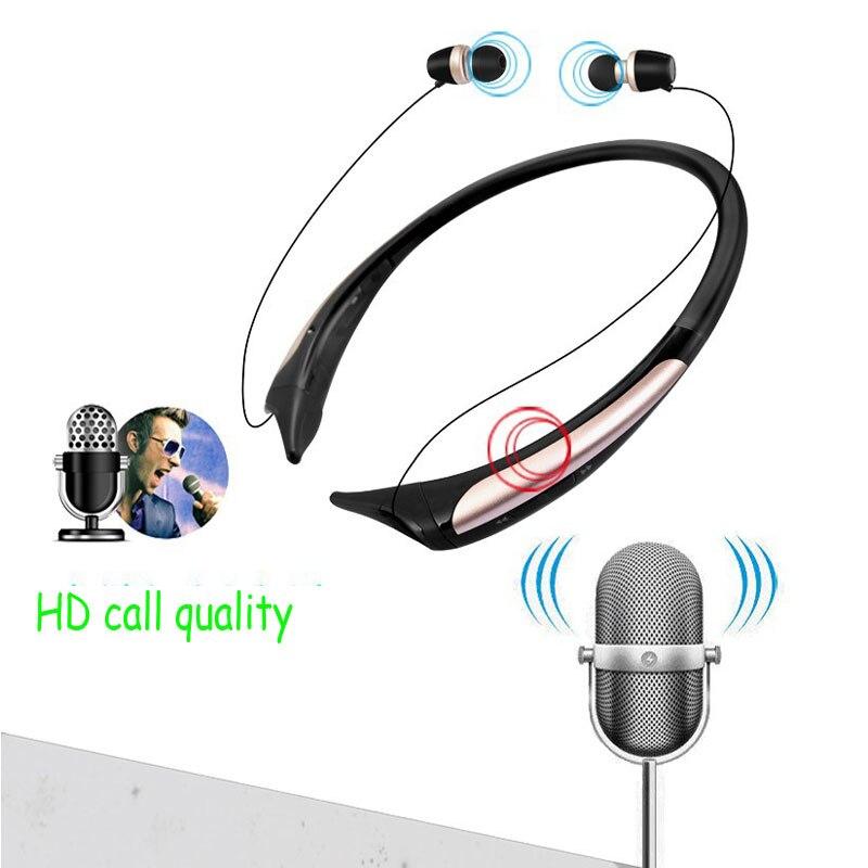 Écouteurs HD sport Bluetooth améliorés, casque stéréo basse, écouteurs sans fil rétractables avec micro pour téléphone