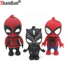 SHANDIAN 4 Deadpool pen driver flash usb 2.0 pendrive GB GB GB 64 32 16g Spiderman Memory Stick Criativo dos desenhos animados brinquedo de Presente por atacado(China)