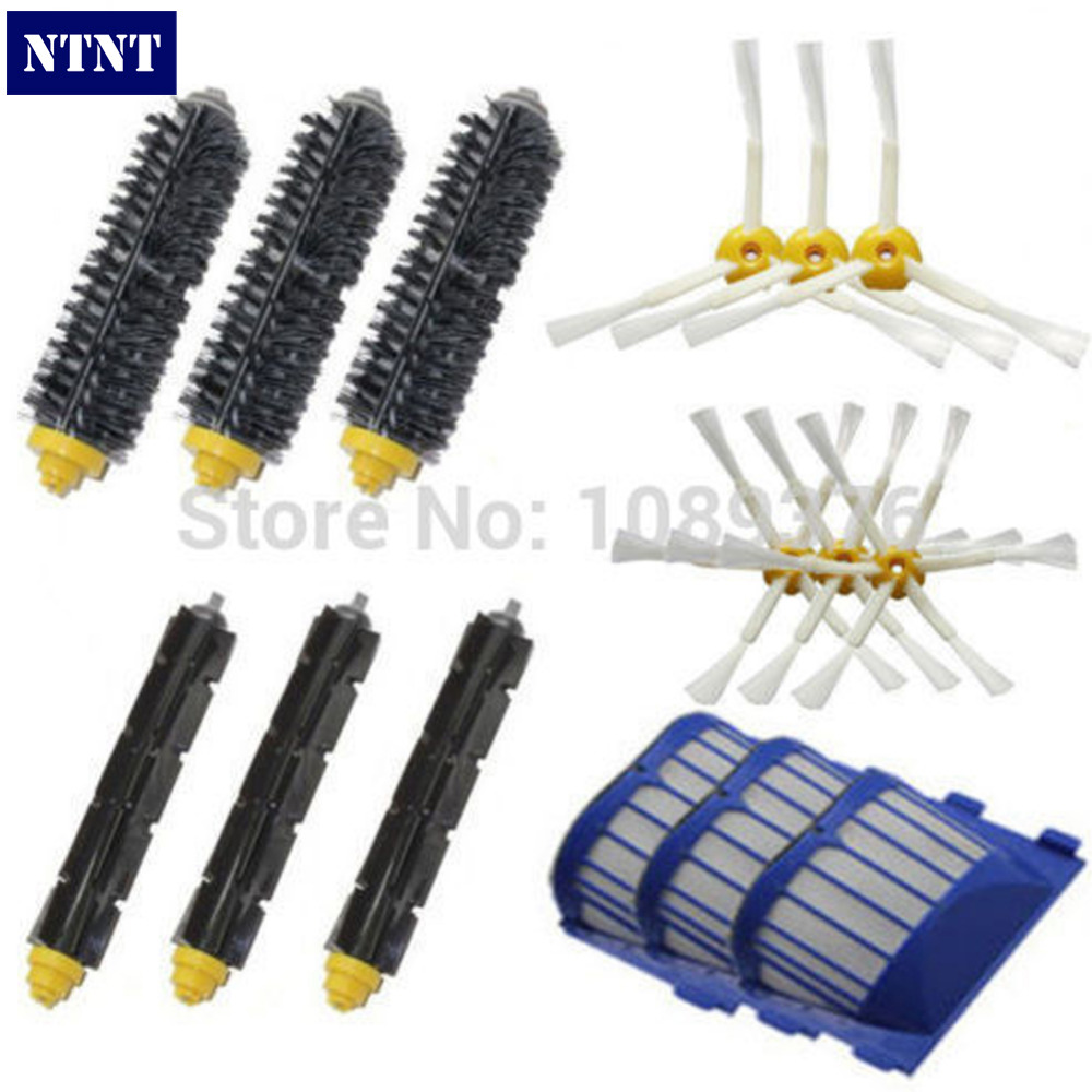 NTNT Free Shipping New 3/6 Brush & AeroVac Filter Kit for iRobot Roomba 600 Series 620 630 650 660 670 free post new blue 6 x aerovac filter for irobot roomba 600 series 620 630 650 660 670 680