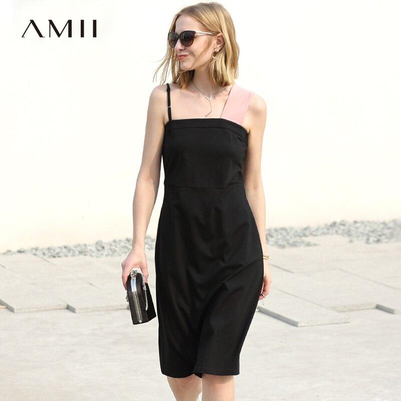 Amii Women Minimalist Dress 2018 Summer A Line Contrast Color Spaghetti Strap Female Dresses