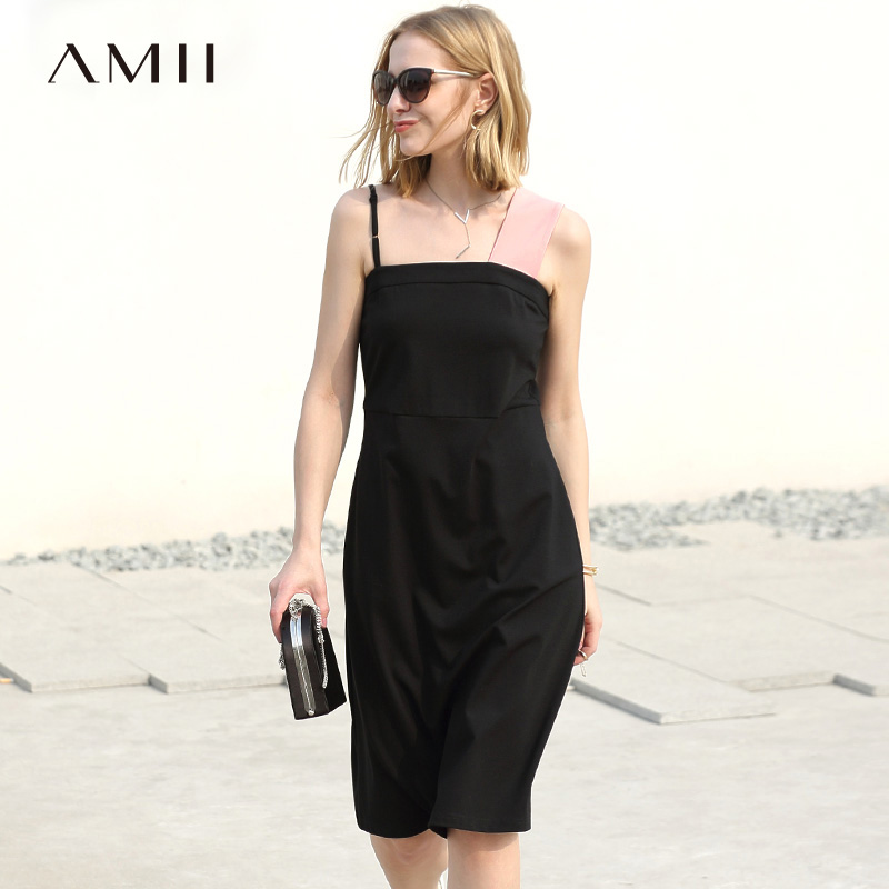 Amii Women Minimalist Dress 2018 Summer A Line Contrast Color Spaghetti Strap Female Dresses-in Dresses from Women's Clothing    1