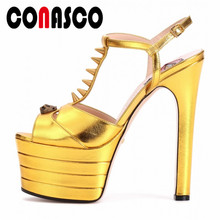 CONASCO Summer Sexy Women Sandals Rivet Flatform Style High Heels Prom Wedding Nigh Club Shoes Woman T-Strap Fashion Sandals
