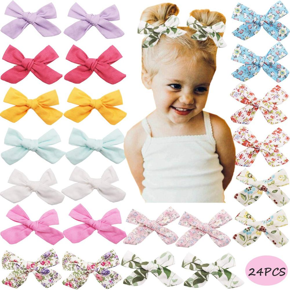 24Pcs Flower Hair Bows Girls Hair Bows Clips Pigtail Hair Bows In Pairs For Girls Toddlers