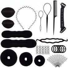 New Black Fifteen Pcs Magic Hair Braider Hair Bun Clip Pads Curler Roller Hairpins Hairstyle Set Sponge Curl Hair Braiding Tool(China)
