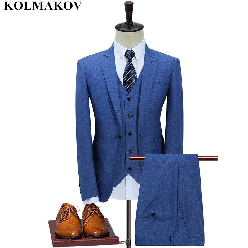 (Jacket+Vest+Pants) KOLMAKOV Men's Clothing Single Button Suits S 5XL High Quality Men Suits Set Casual Man Wedding Suits Dress