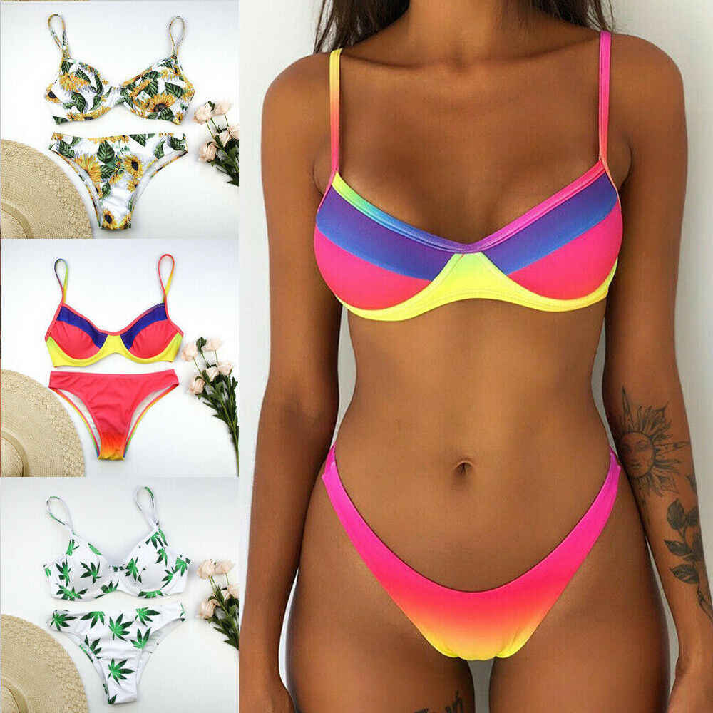 Women Push-up Padded Bra Bikini Set Triangle Swimwear Swimsuit Bathing Beachwear