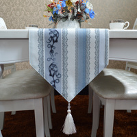 Fashion Amazing Chinese style blue stripe table runner Lace Luxury Table flag