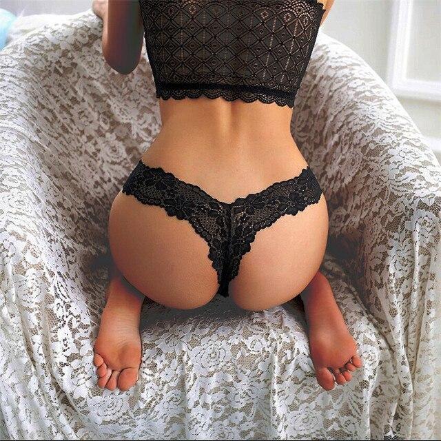 ef090234f70a € 0.79 10% de DESCUENTO|Bragas de encaje Sexy ropa interior Mujer G String  Briefs para mujeres tangas y G Strings ropa interior femenina bragas ...