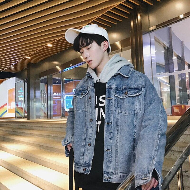 2018 hommes Cowboy vêtements lâche jeunes Pop manteaux de haute qualité coupe-vent décontracté Denim Streetwear marque Bomber veste XS-2XL
