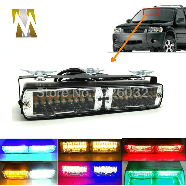 LED flash light 16W 16Led Red blue flash strobe Emergency EMS Police Warning light Flashing firemen Led lights in Car стоимость