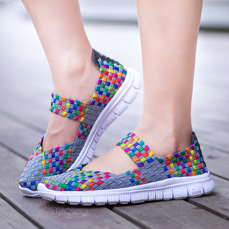 Women Woven Shoes 2019 Summer Breathable Handmade Shoes Fashion Comfortable Women Flats Casual Sneakers Sandals Big Size 35-42(China)