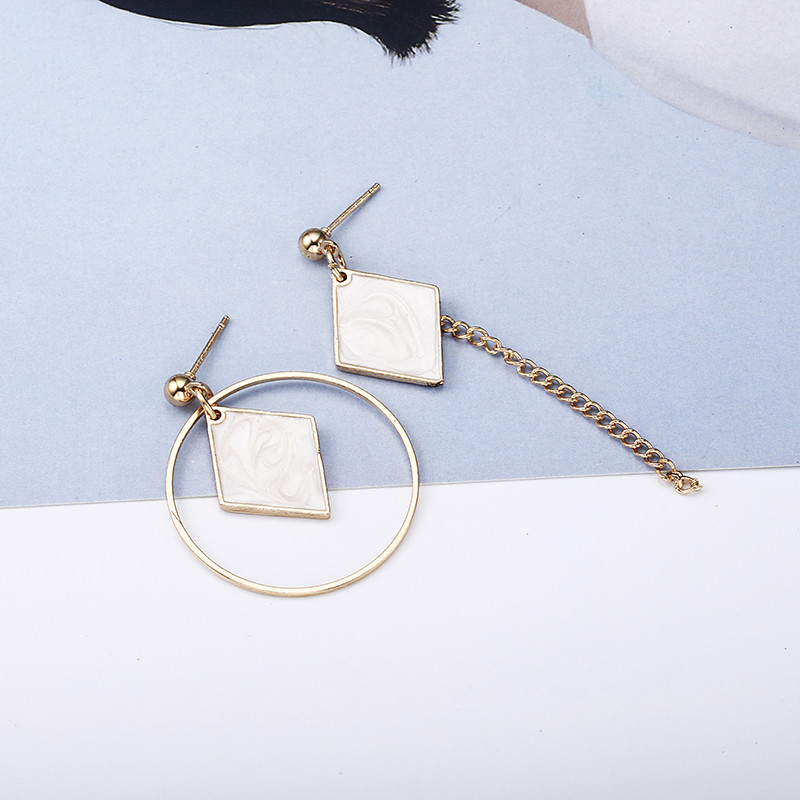 Earrings Hot Sell New Fashion White Geometric Drop Earrings Popular Personalized Statement Assymetric Earrings Wholesale Jewelry E0340 Attractive Appearance