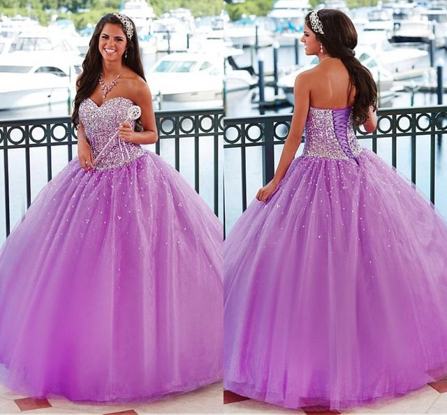0d15ed0ffeb New Arrival Custom Made Light Purple Sequins Quinceanera Dresses Ball Gown  Sweet 16 Girl Dress Organza Cheap Brithday Prom Gowns