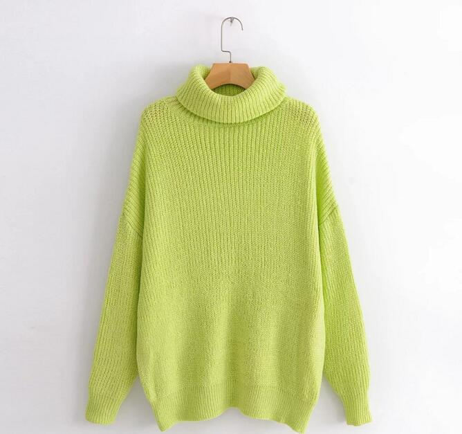 US $17 39 30% OFF 2019 Winter Candy Color Oversized Turtleneck Sweater Hot  pink Mustard Color Loose Knitted Jersey-in Pullovers from Women's Clothing
