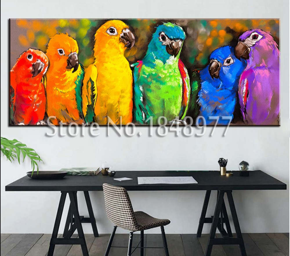 Large modern canvas oil wall art painting colorful parrot for Large colorful wall art