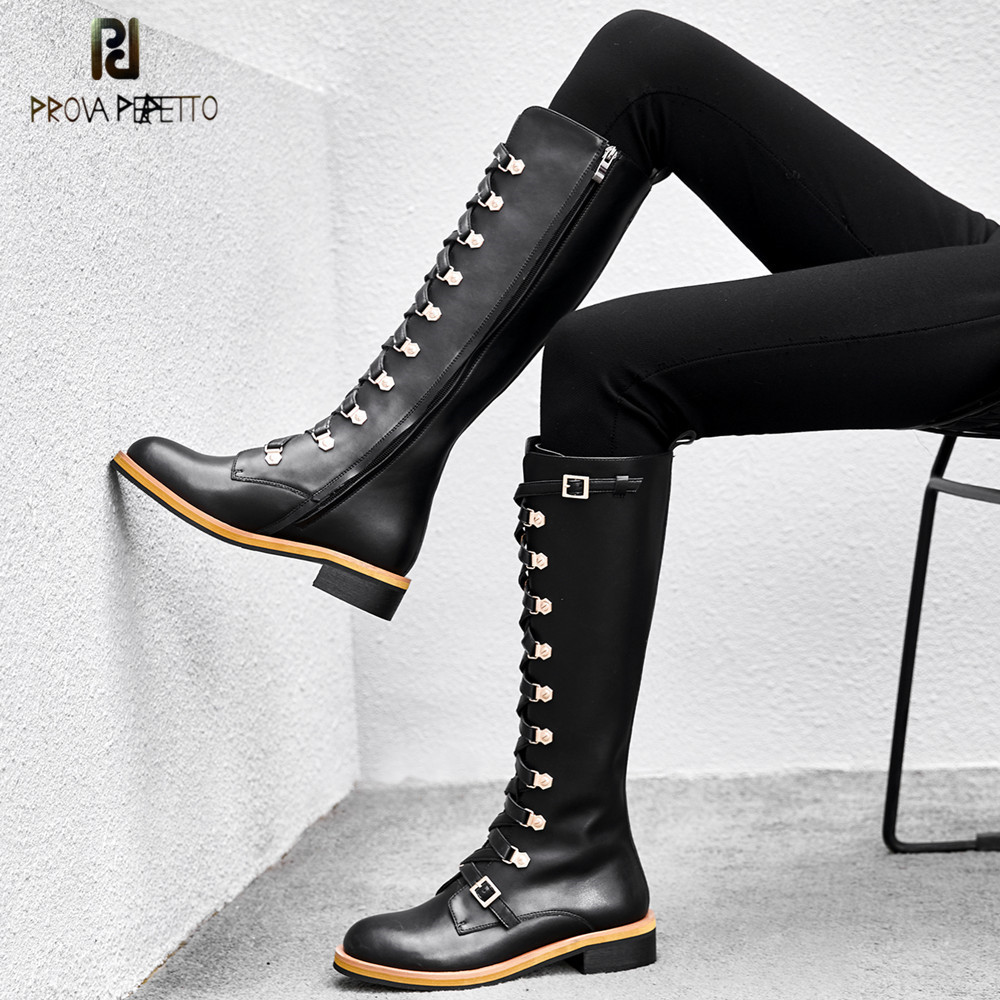 Prova Perfetto High Quality Genuine Leather Boots Women Round Toe Lace-up High Boots Fashion Metal Decoration Motorcycle Boots high quality full grain leather and pu mixed colors boots size 40 41 42 43 44 zipper design lace up decoration round toe boots