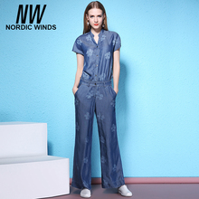 Nordic Winds Floral Print Jumpsuits Jeans Bodysuit Women Fashionable Full Length Short Sleeve Cowboy Style Casual Tencel Wear