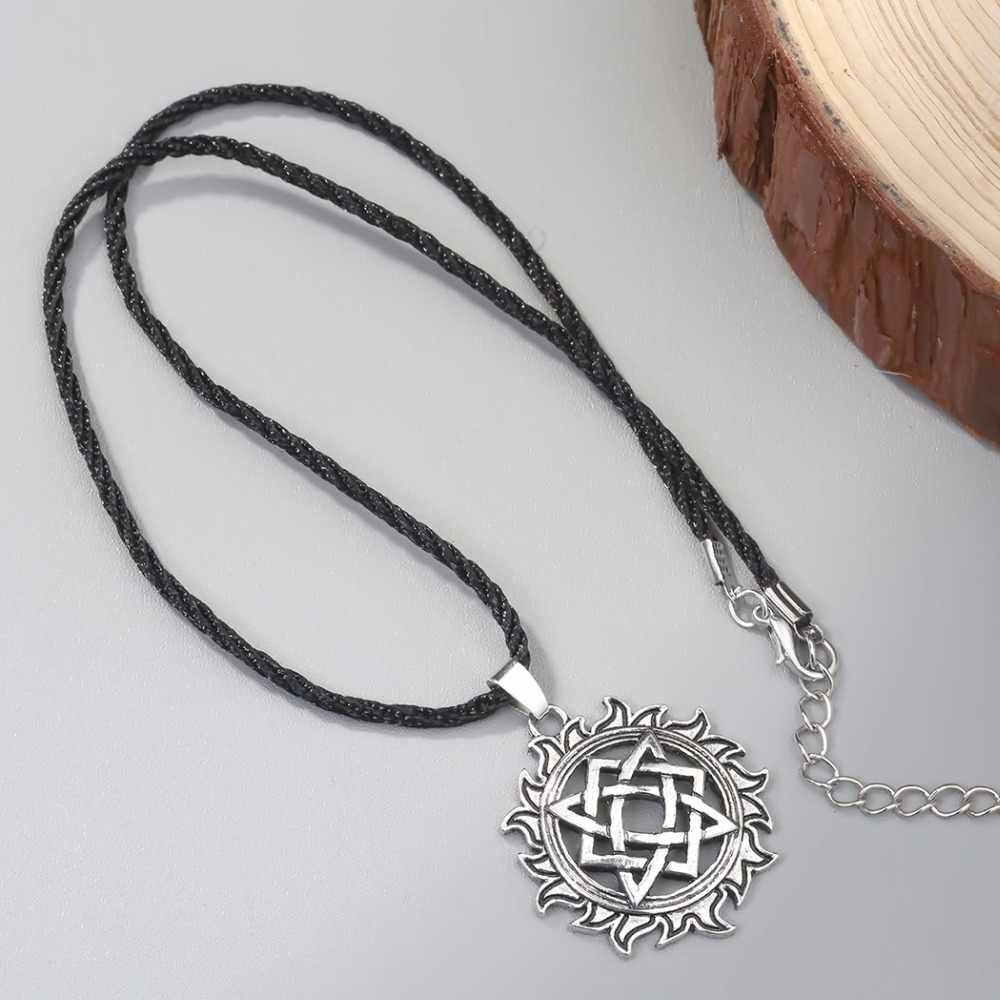 Cxwind Alatyr gwiazda słowiańska biżuteria słońce Symbol wisiorek amulet naszyjnik Norse okultystyczne wisiorki germańskie pogańskie mężczyźni urok naszyjniki