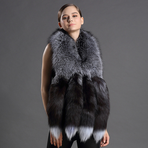 Image 4 - Châles en vraie fourrure pour femmes, écharpe de luxe, Design queue de renard, châle, fourrure naturelle, 2018 véritable, nouvelle version 100%