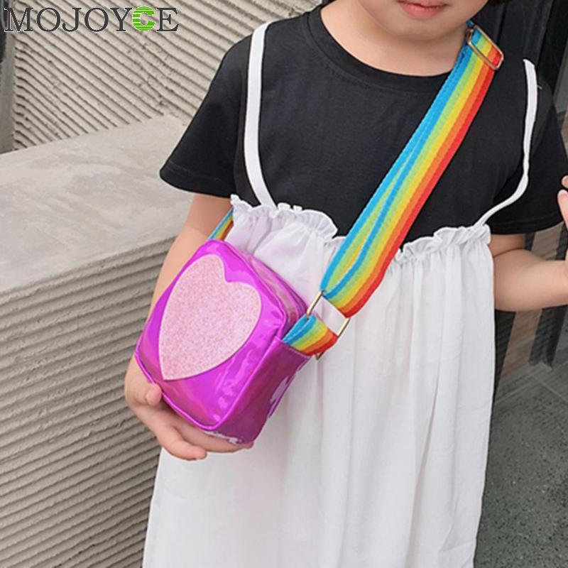 Kids Love Print Clutch Shoulder Messenger Leather Rainbow Strap Casual Coin Purse Bags Wallets Kid Gift Princess Handbags