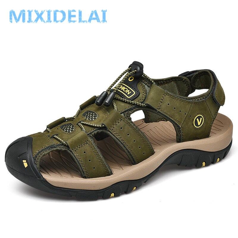 MIXIDELAI Genuine Leather Men's Shoes Summer Men's Sandals Men Sandals Fashion Outdoor Beach Sandals And Slippers Big Size 38-48