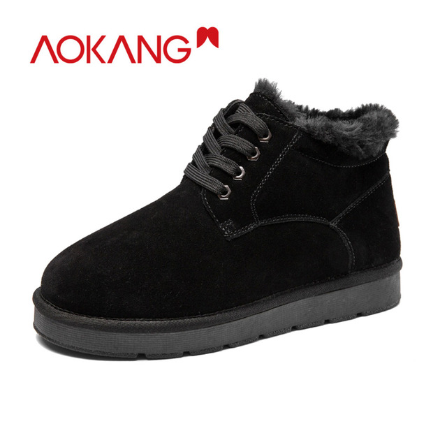 AOKANG 2018 Winter Snow Boots Men Genuine Leather Men Fashion Shoes Men Short Plush Lace Up Ankle Boots Casual Solid Men Shoes