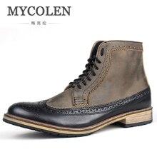 MYCOLEN/Мужская обувь; роскошные модные мужские ботинки; сезон весна-осень; кожаные ботильоны; Мужская обувь; Новая повседневная модная дышащая обувь