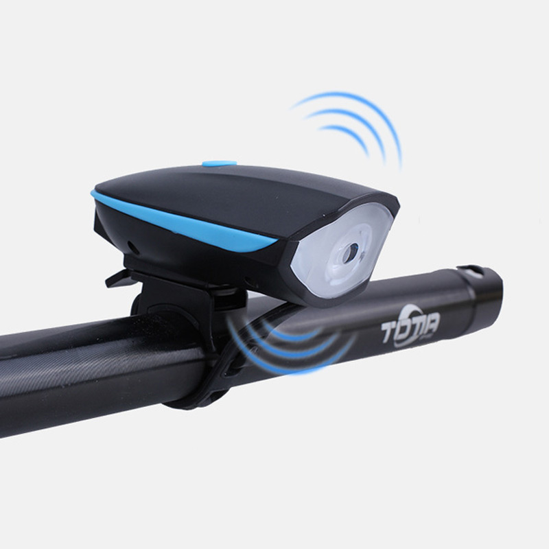 Bicycle Bike Electric Bell Bike LED Light <font><b>Horn</b></font> Bright Headlight Vocal USB Charging Timbre Night Riding Up Cycling Alarm Mountain