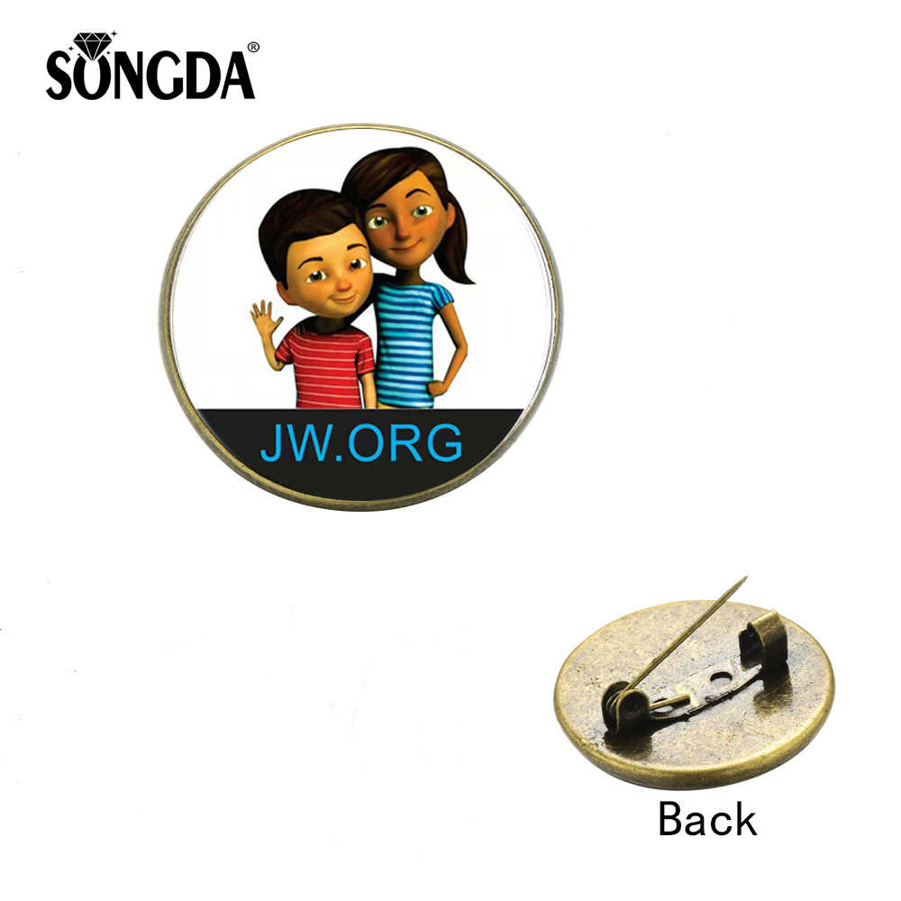 SONGDA JW.org Caleb and Sophia Lapel Pin Classic Round Multicolor JW.ORG Art Logo Glass Cabochon Brooch Button Decorative Badges