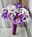 Nupcial de la boda Ramo de la dama de Honor Ramos de Novia Hechos A Mano Púrpura Artificial Vanda Flores Calla Lily Que Sostiene La Flor Decoración Del Hogar