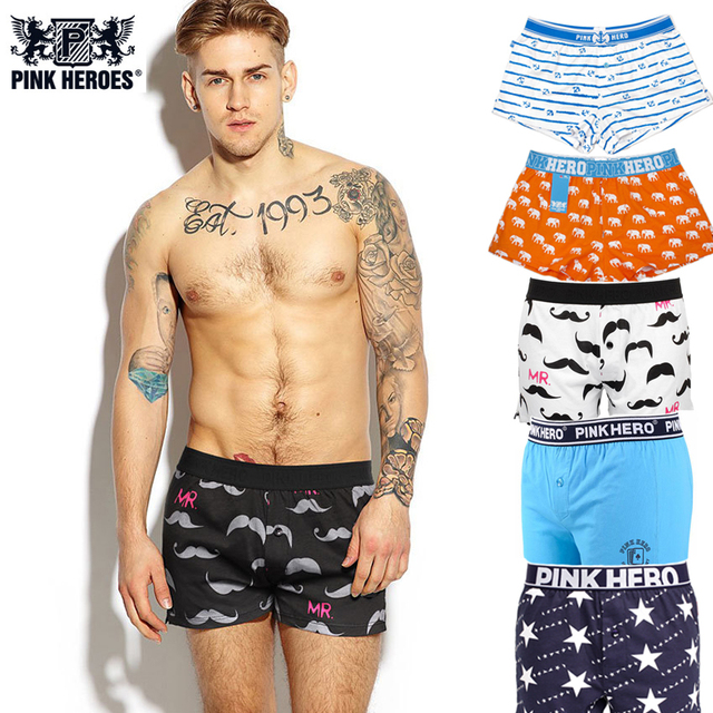 PINK HERO Mens Shorts 100% Cotton Soft Loose Arrow Casual Beach Pants Male Trunks Button Outer Wear Fashion Indoor Boxers 05A