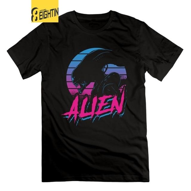 Eightin ALIEN EIGHTEES Vaporwave Alien Bund männer T-Shirts 100% Baumwolle T-shirts Mit Kurzen Ärmeln O Neck Alien vs Predator T hemd