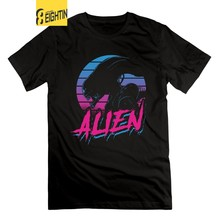 Eightin ALIEN EIGHTEES Vaporwave Alien Bund männer T-Shirts 100% Baumwolle T-shirts Mit Kurzen Ärmeln O Neck Alien vs Predator T hemd(China)