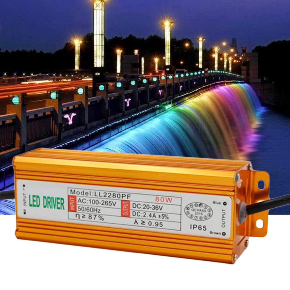 <font><b>Super</b></font> Deal 1Pcs Aluminum 80W LED Driver Adapter Transformer AC 85-265V TO DC 20-40V DC <font><b>Switch</b></font> <font><b>Power</b></font> <font><b>Supply</b></font> TY-0080