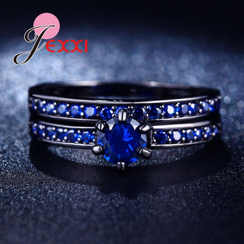 Pair-Rings Ocean-Blue Jewelry Crystal Romantic Wedding-Engagement Love Couple Fashion