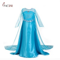 MUABABY Girls Elsa Princess Dresses Kids Long Sleeve Beadings Dress Up Party Costume Snow Queen Floor