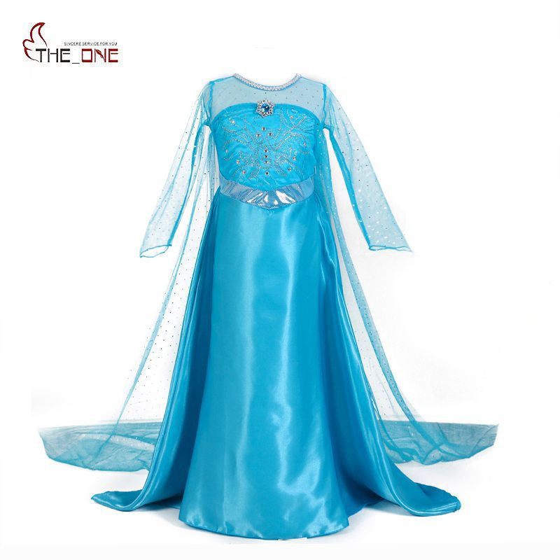 MUABABY Girls Elsa Princess Dresses Kids Long Sleeve Beadings Dress up Party Costume Snow Queen Floor Length Cosplay Supplies elsa dress sparkling snow queen elsa princess girl party tutu dress cosplay anna elsa costume flower baby girls birthday dresses