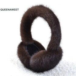 Женские плюшевые меховые наушники, зимние теплые однотонные наушники из натурального Лисьего меха, аксессуары для женщин, 001