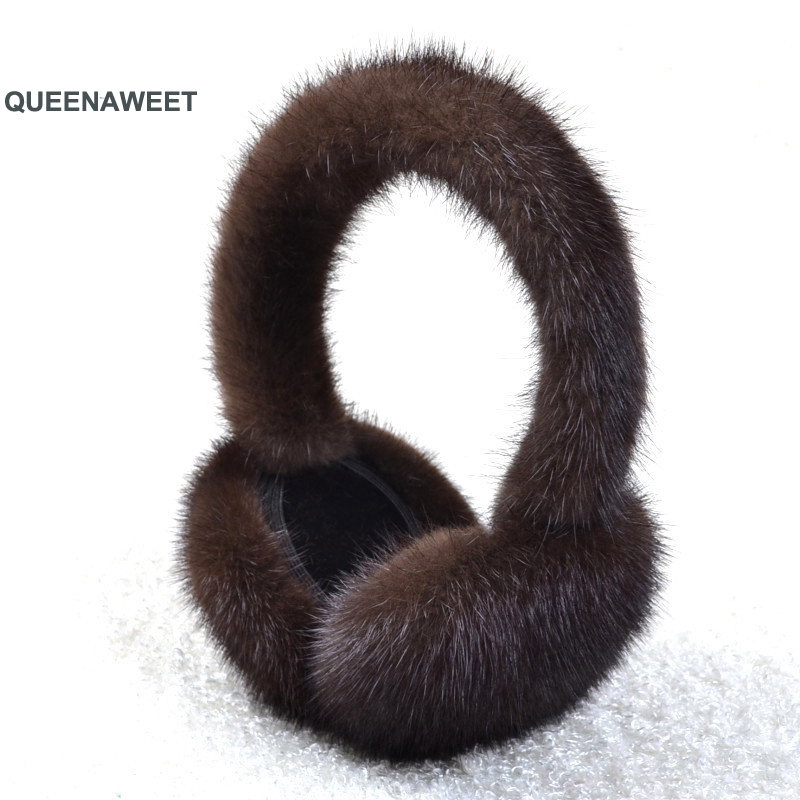 001 New Women Plush Genuine Real Fox Fur Earmuff Winter Real Fur Earmuffs Winter Accessories Women Ear Warmer Solid Ladies