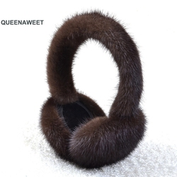 001 New Women Plush Genuine Real Fox Fur Earmuff Winter Real Fur Earmuffs Winter Accessories Women Ear Warmer Solid Ladies