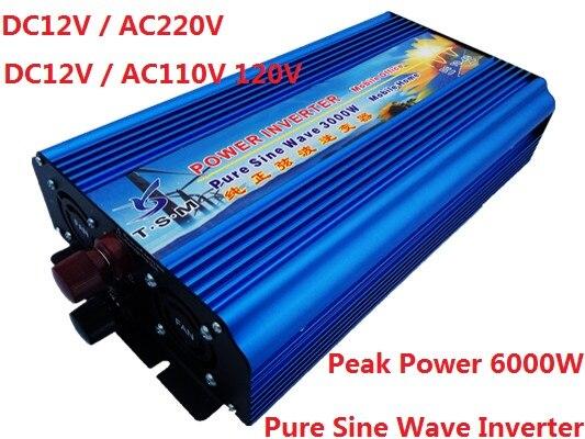 цена на 3KW 3000W dual digital display Pure Sine Wave Inverter DC12V/24V/36V/48V to AC120V/220V can run a fridge,air conditioner