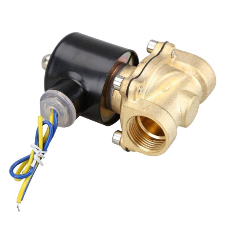 LIXF HOT 2W-200-20 3/4 Inch Brass Electric Solenoid Valve Water Air Fuels N/C DC 12V brass electric solenoid valve 2w 200 20 3 4 inch npt for air water valve 110v nc