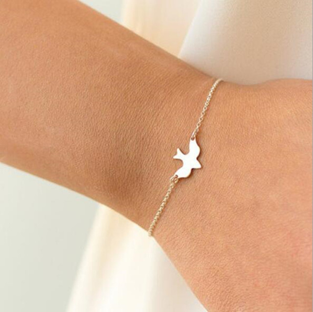 Ahmed Jewelry Gold and Sliver Color Peace Dove Cute Bracelet For Woman 2017 New