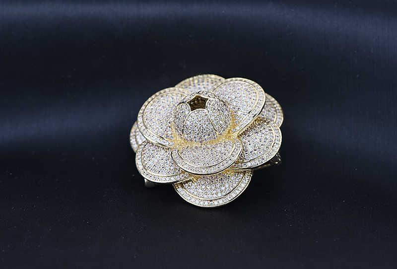 Mewah Merek Fashion Micro Pave Kristal Austria Berlian Imitasi Klasik Camellia Bunga Bros untuk Wanita Pesta Perhiasan Hadiah