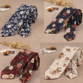 Mens Cotton Slim Tie Flower Skinny Ties Flower Narrow Necktie Floral Cavatte Rose Navy Blue Corbatas Hombre 2017 Gravata Slim