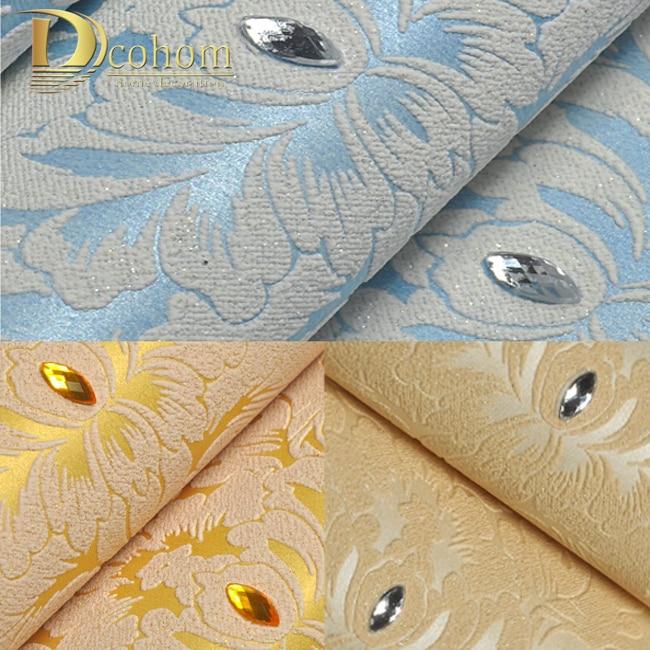 Europe Style Luxury Diamond High-grade Non-woven Wallcoverings Damascus Bedroom Tv Sofa Background 3d Papel De Parede Roll R522
