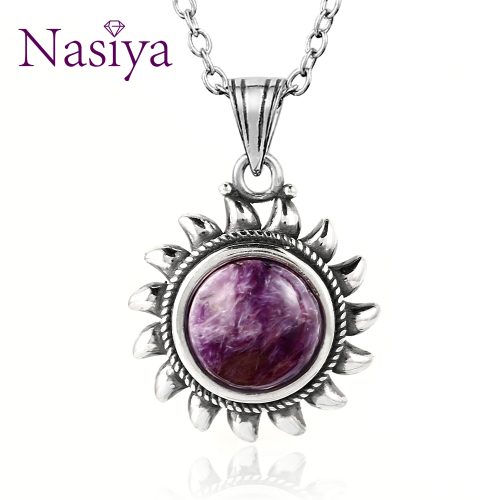 Nasiya Purple Charoite Necklace Sterling S925 Silver Vintage Type Natural Charote Necklace For Women Gift