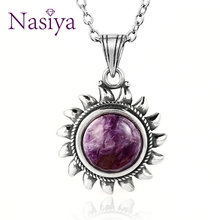 Nasiya Purple Charoite Necklace Sterling S925 Silver Vintage Type Natural Charote for Women Gift