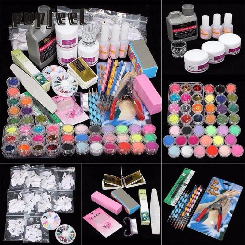 21 in 1 Professional Acrylic Glitter Color Powder French Nail Art Deco Tips Set Conjuntos de manicura 17Apr12